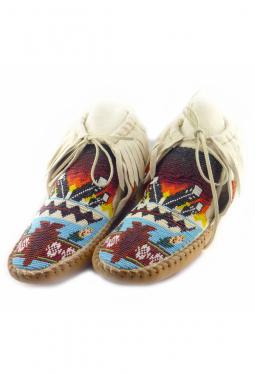 Navajo Mocassins vollständig mit Perlen bestickt..