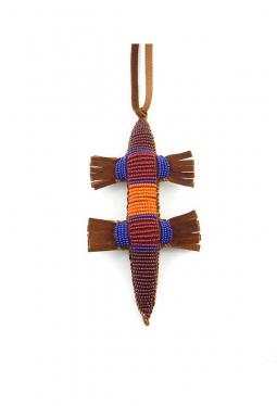 Nabelschnur Amulett Eidechse rot orange braun