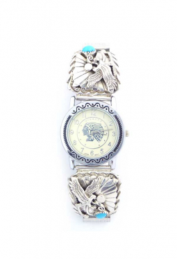 Navajo Uhr mit Adler und Türkis