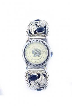 Navajo Uhr mit 4 Onyx und feiner Silberverzierung