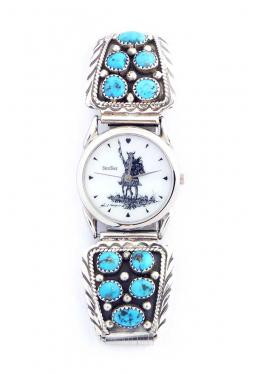 Navajo Uhr mit 5 Türkissteinen pro Seite