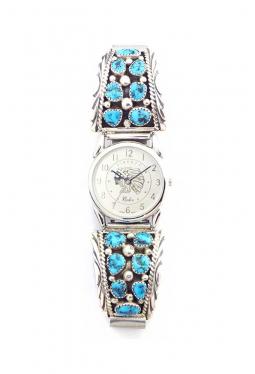 Navajo Uhr mit je 7 Türkissteinen pro Seite
