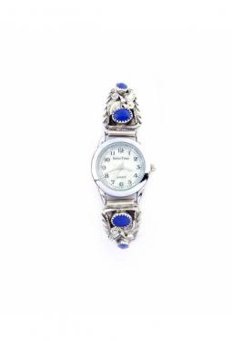 Damenuhr mit 4 Lapis Lazuli und Silberarbeiten