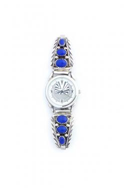 Damenuhr mit 6 Lapis Lazuli Steinen Navajo