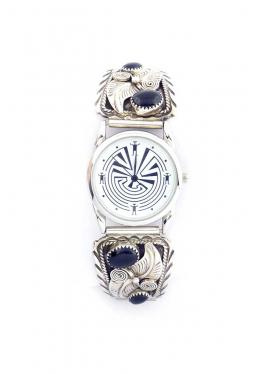 Navajo Uhr mit 4 Onyx und feiner Silberverzierun..