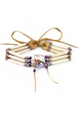 Choker Halskette Navajo weinrot mit Perlmutter Rondellen