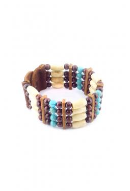 Armband aus Büffelknochen mit runden Türkisperlen