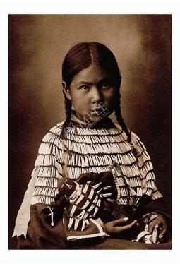 Cheyenne Maiden With Doll - Postkarte