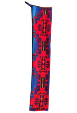 Flötenhülle blau/rot Muster -  Faserpelz