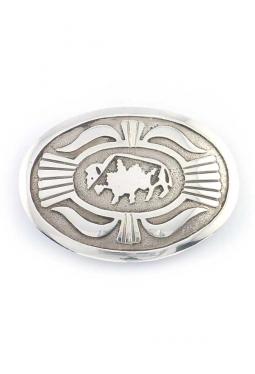 Gürtelschnalle Silber mit Büffel