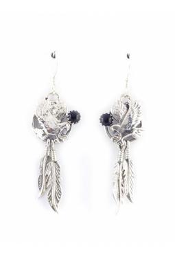 Ohrhänger Adler rund onyx - Navajo Silber