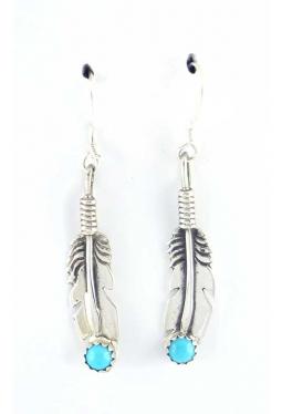 Ohrhänger Feder mit Türkis - Navajo