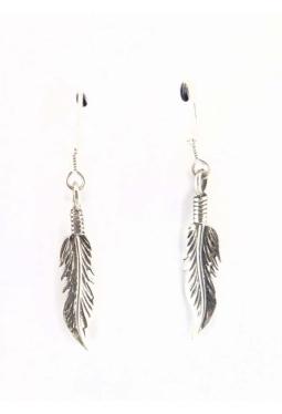 Ohrhänger kleine Silberfedern spitz - Navajo