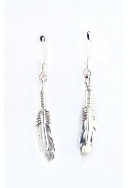 Ohrhänger kleine Silberfedern rundlich - Navajo
