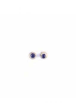 kleine Ohrstecker Onyx gefasst rund - Navajo