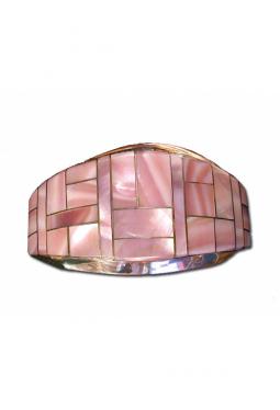 Inlay Armreif Pink-Shell mit Silberstegen - Navajo