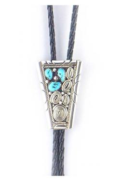 Navajo Bolo Tie 3 Türkise mit Silberverzierung
