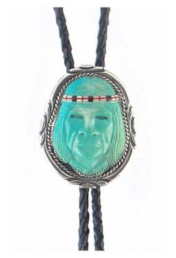 Navajo Bolo Tie Indianerkopf aus Türkis