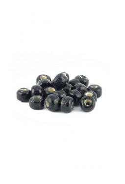 Crow Beads schwarz white heart 9 mm Glasperlen