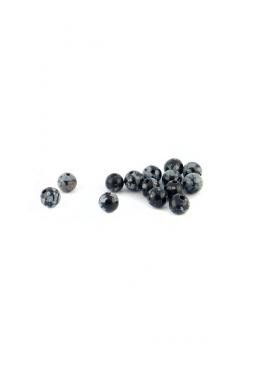 Halbedelstein Obsidian Schneeflocken rund 6mm