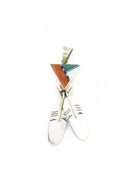 Anhänger Multicolor Zuni Dreieck mit Federn (2)
