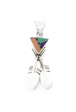 Anhänger Multicolor Zuni Dreieck mit Federn (3)