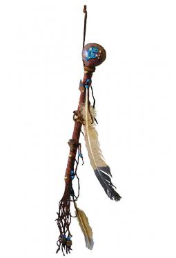Navajo Rassel rund bemalt und dekoriert