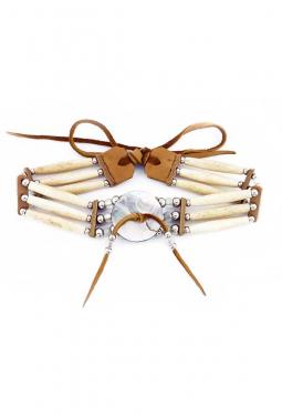 Choker Halskette Navajo weiss mit heller Perlmutter Rondelle