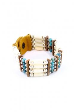 Armband aus weissen Büffelknochen mit Disc-Türkisen gross