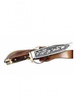 Bowie Messer De Luxe - Buffalo-Jagd Ätzung und Hirschhorn Griff