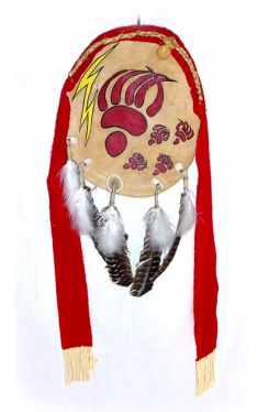 Lakota Bear Shield - Bären Schild rot Martin Long Soldier Lakota