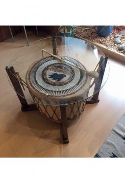 Lakota Pow-Wow Trommel 85 cm mit Ständer/Glasplatte