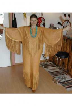 Leder Kleid Wapiti-Hirsch-Leder golden